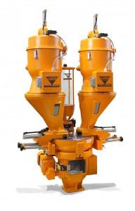 Der Graviko GK 65 von Koch-Technik hat eine angepasste Gerätegeometrie und zwei Präzisions-Wiegezellen zur gravimetrischen Dosierung sowie ein horizontales Rührwerk zur optimalen Vermischung der dosierten Material-Chargen zur Kunststoffverarbeitung.