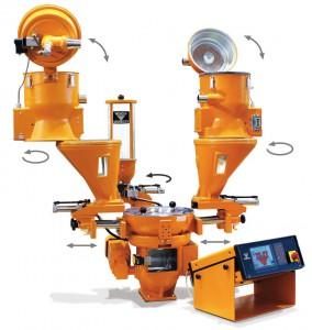 Das gravimetrische Dosier- und Mischgerät Graviko GK 65 im Koch-Baukastensystem: Zum schnellen Materialwechsel kann der Verarbeiter alle Geräte-Komponenten verschieben, schwenken oder klappen - direkt auf der Maschine und völlig ohne Werkzeug.
