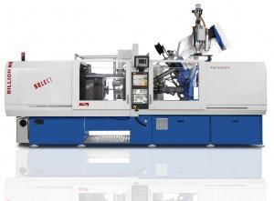 Spritzgießmaschine SELECT H150260-150T: Billion zeigt auf der K'2013 eine vollelektrische Spritzgießmaschine SELECT H150/260-150T mit 1.500 kN Schließkraft, auf der ein Werkzeug mit Dreheinheit von Kooperationspartner Weber Esslingen läuft.