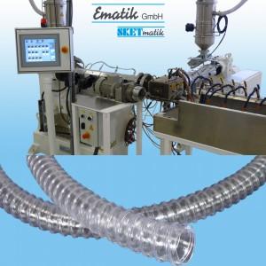 Coextrusionslinie KEP 38-25-S  zur Herstellung von Atemschläuchen mit Wendel (Foto:Ematik)