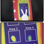 Die Wirksamkeit des wärmeleitenden Füllstoffs Silatherm: Schon kurz nachdem die Bereiche 3 und 4 gleichzeitig mit den Fingerspitzen einer Hand berührt wurden (oben), zeigt der Silatherm enthaltende Bereich 4 dank der verbesserten Wärmeabfuhr eine deutlich geringere Restwärme (unten rechts). (Foto: HPF)