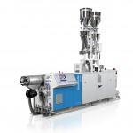Der Doppelschneckenextruder der 32D-Baureihe von Krauss Maffei Berstorff zur Herstellung von PVC-Platten bietet Flexibiität und hohe Produktqualität. (Foto: Krauss Maffei Berstorff)
