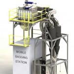Durch seine geringe Bauhöhe kann der Deduster direkt auf der mobilen Absackmaschine montiert werden. (Abb.: Pelletron)