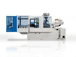 Die CX-Hybrid-Baureihe kombiniert die Vorteile einer platzsparenden hydraulischen Schließeinheit (Zweiplatten-Technik) mit denen der elektrisch angetriebenen Spritzeinheit. (Foto: Krauss Maffei)