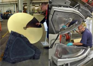 Erste Ergebnisse von CRESIM – eine Cannon Entwicklung zur industriellen Verwendung von Recycling Carbonfasern: eine Satellitenschüssel (l.) – 130 cm Durchmesser, montiert aus sieben gleichen Teilen, hergestellt in einer Form (r.) mit der Estrim Liquid Laydown Technologie. (Fotos: Cannon)