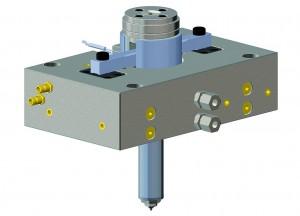 Die Einzelnadelverschlussdüsen SNV-06 und SNV-12 mit entsprechender Schmelzeumleitung sind als komplett einbaufertige Einheit erhältlich. (Abb.: Hasco)