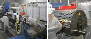 In der Extrusionsanlage bei CPE zum PS-Recycling aus gemahlenem und vorgereinigtem Kühlschrankabfall (links) sorgt ein zwischen Extruder und Granulator geschalteter Filter ERF 250 (Bild rechts) für die prozessstabile Schmelzefiltration. (Foto: Ettlinger)