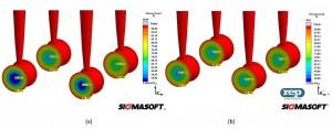 Abb. 2: a) Inhomogene Vernetzung in den Kavitäten verschlechtert die Haftung zwischen Elastomer und Einlegeteil. b) Die homogene Schererwärmung im balancierten Anguss begünstigt die gleichmäßige Vernetzung und Haftung. (Abb.: Sigma)