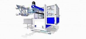 4-Kavitäten- Performance pur: B4-IML-Hochleistungsfertigungszelle von Beck Automation mit dem zum Patent angemeldeten Reihen-Prinzip. (Abb.: Beck)