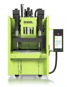 Auf einer Spritzgießmaschine Insert 200V/100 rotary xs LIM werden während der DKT Fliegenklatschen aus einem LSR/Metall-Verbund hergestellt. (Foto: Engel)