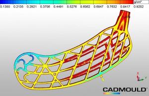 Cadmould 3D-F Foam: Dichteverteilung über dem Querschnitt in einem geschäumten Hockeyschläger. (Abb.: Simcon)