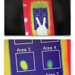 Dank der verbesserte Wärmeleitung des mit Silatherm gefüllten Kunststoffes zeigt der Bereich 4 gegenüber dem Bereich 3 ohne Silathermfüllung eine geringere Restwärme nach gleichzeitigem Berühren beider Flächen mit den Fingerspitzen einer Hand. (Foto: Quarzwerke)