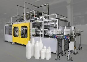 Hyblow 607 DL für die 9-fach-Produktion von 1000 ml-Milchverpackungen. (Foto: Bekum)
