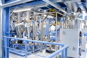 FFS Absack- und Palettieranlage IBP 250 von Coperion für die Produktion von technischen Kunststoffen am BASF-Standort in Südkorea. (Foto: Coperion)
