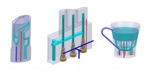 Umsetzungsbeispiele der Kühlkanäle im Werkzeug. (Abb.: Stemke)