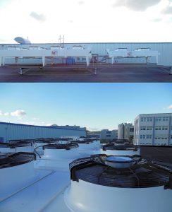 Die Anlage mit einer Kälteleistung von 2 x 240 kW stellt Wasser mit einer Vorlauftemperatur von 12 °C bereit und ist mit einem Freikühler ausgerüstet, der die Primärkälte bei niedrigeren Außentemperaturen aus der Umgebung bezieht. (Foto: L&R)