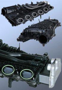 Eine Sauganlage aus dem alterungs- und temperaturbeständigen Polyamid Zytel Plus mit integriertem indirektem Ladeluftkühler von Mahle für die neuen BMW 6-Zylinder-Benzinmotoren. (Foto: DuPont)