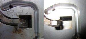 Werkzeug vor (links) und nach (rechts) der Reinigung. (Foto: Cold Jet)