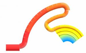 """Radialwendelverteiler mit Zuführkanal, dargestellt in der """"3D Visual Studio""""-Umgebung von Compuplas Abbildung: Compuplast/Agfiss"""