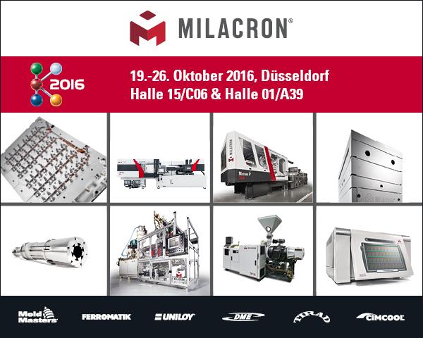 Milacron c/o Mold-Masters Europa GmbH auf der K 2016 in Halle 15/C06 & Halle 01/A39