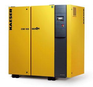 Die Schraubenkompressoren der Baureihen CSD und CSDX von Kaeser verfügen über sparsame IE4-Motoren für Druckluft-Liefermengen von 8,3 bis 16,1 m³/min. (Foto: Kaeser)