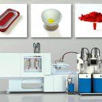 Elmet präsentiert seine Dosier- und Werkzeugtechnologie für die LSR-Verarbeitung auf dem eigenen Stand sowie bei Engel (2K-Druckspeichermembrane, oben links), bei Momentive (zweifarbiger Eierbecher, oben Mitte) sowie bei Boy (Einzeldrahtabdichtungen, oben rechts). (Fotos: Elmet)