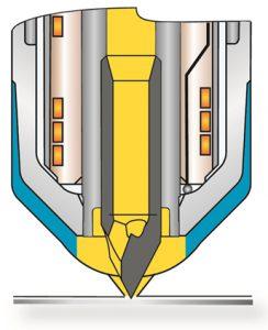 Die Düse mit zweigeteiltem Schaft ermöglicht eine gute thermische Trennung zwischen Heißkanal und temperiertem Werkzeug auf kleinstem Bauraum. (Abb.: Günther)