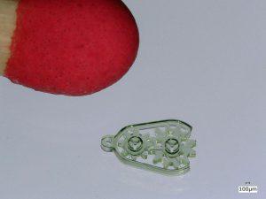 Mikro-Getriebe mit zwei drehbaren Zahnrädern. (Foto: Nanoscribe)
