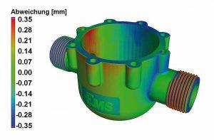 Vergleich eines CT-Scans mit dem originalen 3D-CAD-Modell: Darstellung der lokalen Geometrieabweichung. (Abb.: Ems)