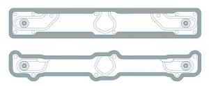 Im Vergleich zur bisherigen Standard-Ausführung (oben) hat der neue Heißkanalverteiler (unten) mit 2.340 cm³ ein um ein Drittel verkleinertes Volumen. (Abb.: HRSflow)