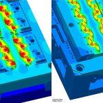 Virtuelles Spritzgießen ermöglicht frühe Werkzeugoptimierungen: ursprüngliches Werkzeugdesign mit Temperaturverteilung (links) und Temperaturen des optimierten Designs (rechts). (Abb.: Sigma)