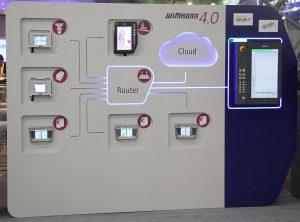 Auf der Swiss Plastics wird Wittmann 4.0 anhand einer interaktiven Schautafel anschaulich und plastisch demonstriert. (Foto: Wittmann)