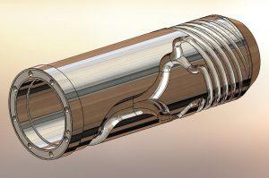 Mehr Performance beim Extrusionsblasformen ermöglichen High-Tech-Wendelverteilerblasköpfe. (Abb.: Bekum)