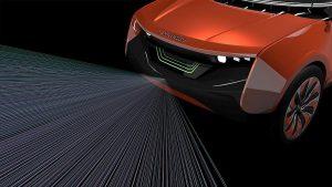 """Neue Polycarbonat-Werkstoffe ermöglichen eine gute Übertragung von LiDAR-Signalen und die homogene Integration von Sensoren – den """"Augen"""" des autonomen Fahrzeugs. (Abb.: Covestro)"""