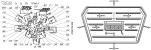Das Layout des Heißkanalsystems besteht aus zehn Anspritzpunkten mit Düsen der MA-Serie. (Abb.: HRSflow)
