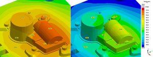 Vergleich unterschiedlicher Temperierkonzepte mit Sigmasoft: rechts eine klassische Ölkühlung, die weit von der Zieltemperatur entfernt ist; links eine gleichmäßigere Temperaturverteilung bei einem Konzept mit unter Druck stehenden Wasser. (Abb.: Sigma)