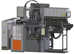 2K-Gummispritzgießmaschine mit einem vertikalen Spritzaggregat von oben und einem horizontalen Spritzaggregat. Diese Ausführung kommt zum Einsatz, wenn die zweite Gummimenge bei mehr als 2.000 cm³ liegt. (Abb.: Maplan)
