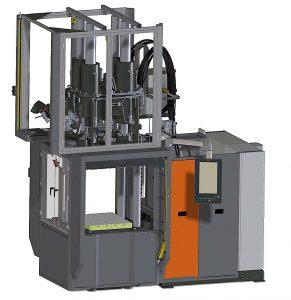 2K-Gummispritzgießmaschine mit zwei parallelen Spritzeinheiten von oben. (Abb.: Maplan)