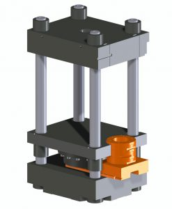 Das Ergonomic-Schließsystem besteht aus einer fix mit der beweglichen Maschinenplatte verbundenen Druckkissen-Einheit sowie einem seitlich bei jedem Öffnungshub ausgefahrenen Distanzstück. (Abb.: Maplan)