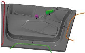 CAD-Modell einer Innenverkleidung – Tesla Model X – Vordertür mit Formhilfen. (Abb.: Simpatec)