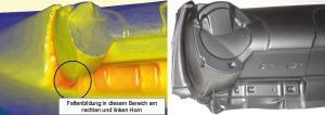 BMW Mini I-Tafel: Faltenbildung in der Simulation (links) und am realen Bauteil (rechts). (Abb.: Simpatec)