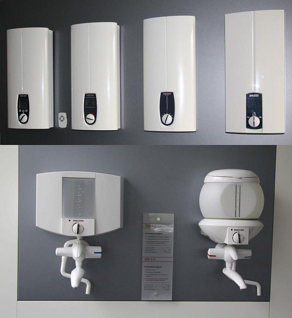 Beispiele für fertige Kleingeräte von Stiebel Eltron (Kochendwassergeräte und Durchlauferhitzer). (Fotos: Wittman)