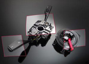 Das Lenkstockschalter-Modul, dessen Gehäuse und Hebel aus PA und PBT bestehen, ist rund 20 % leichter als das Vorgängermodell. (Foto: BASF)