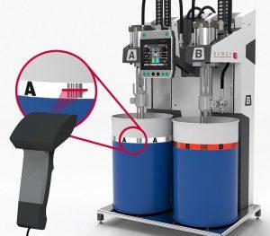 Das Barcodesystem dient der zuverlässigen Unterscheidung der Komponenten A und B beim LSR-Spritzgießen. (Foto: Elmet)