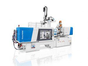 Spitzenzykluszeiten für die Verpackungsindustrie: Auf einer PX 160-540 mit Linearroboter LRX werden Flip-Top-Verschlüsse produziert. (Foto: Krauss Maffei)