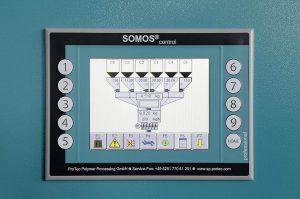 Alle Trockner und Dosierer der Somos-Baureihen sind mit netzwerkfähigen SPS-Steuerungen ausgestattet. Diese lassen sich an einem 6-Zoll-Touchscreen-Farbbildschirm mit grafischer Benutzeroberfläche bedienen. (Foto: Protec)