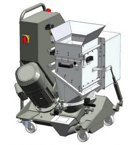 Tiefergelegt und mobil ist die erstmals auf der Fakuma vorgestellte GRS 180. Mit nur 1.050 mm Gesamthöhe findet sie unter Separiertrommeln, Ausfallschächten oder Spritzgießmaschinen Platz. (Abb.: Getecha)