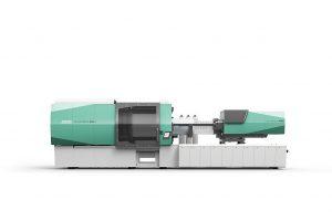 Seit der Fakuma gibt es mit dem Allrounder 920 H mit 5.000 kN Schließkraft eine zweite hybride Großmaschine im neuen Design und mit neuer Gestica-Steuerung. (Foto: Arburg)