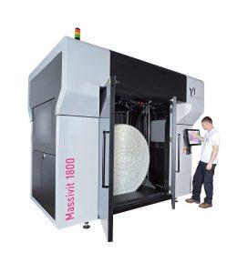 3D-Exponate im XXL-Format entstehen auf der Massivit 1800 Anlage. (Foto: ESC)