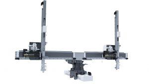Beim neuen Pick-and-Place-Gerät Rotationliner von Geiger rotieren zwei Greifachsen um eine weitere Achse. (Foto: Geiger Handling)